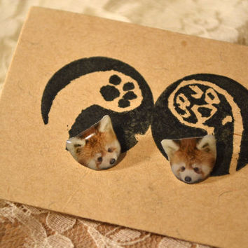 Red panda earrings handmade Tiny Jewelry with linen cotton bag