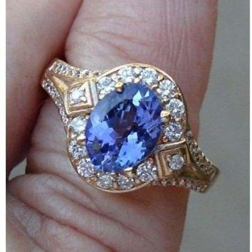 Luxinelle 1.56 Carat Tanzanite and Diamond Ring - 14K Yellow Gold by Luxinelle® Jewelry