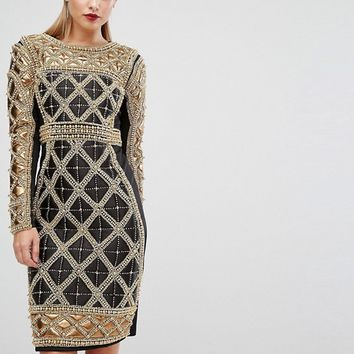 A Star Is Born Embellished Midi Dress With Metallic Quilted Detail at asos.com