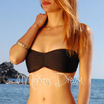 Rushed Bandeau Ballet Bikini Top BORACAY in Black, by MAKANI DREAM Swimwear