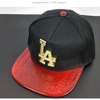 Couple LA alphabet diamond baseball cap cap cap spring summer outdoor sunscreen shade hip hop hat