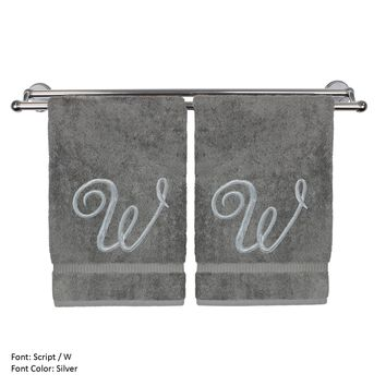 Monogrammed Hand Towel, Personalized Gift, 16 x 30 Inches - Set of 2 - Silver Embroidered Towel - Extra Absorbent 100% Turkish Cotton- Soft Terry Finish - For Bathroom, Kitchen and Spa- Script W Gray