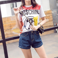 """""""Moschino"""" Fashion Personality Multicolor Letter Print Loose Short Sleeve Women Casual T-shirt Tops"""