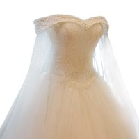 Luxury High grade Crystal Beading Lace Wedding Dress Custom Bride Princess Embroidery Boat Neck A-line Wedding Gown