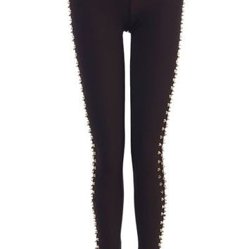 Gold Color Side Spikes Black Leggings