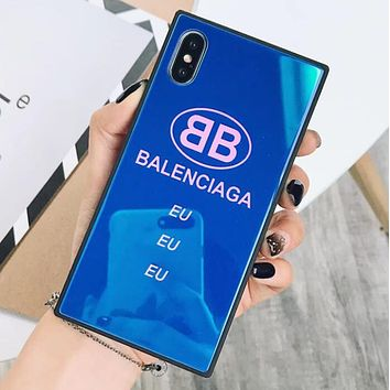 BALENCIAGA Fashion Personality Glass Phone Shell Letter Logo Soft Case For Iphone 7plus Iphone X iPhone 6s/8plus Blue I12291-1