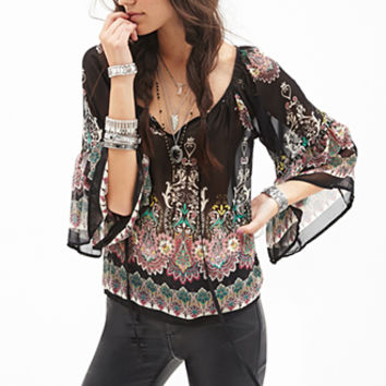FOREVER 21 Ornate Floral Chiffon Top Black/Pink
