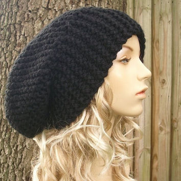 Hand Knit Hat The Slouch Hat in Black by pixiebell on Etsy