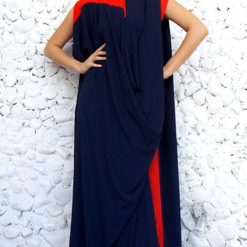 Navy Plus Size Chiffon Kaftan / Maxi Oversize Navy Dress TDK90 / FALL WINTER 2014/2015