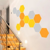 12 Honeycomb Geometric Hexagons Vinyl Wall Stickers Home Decor (Set of 12 pcs)