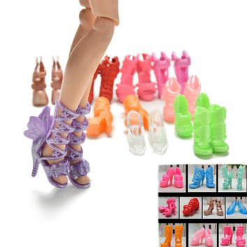 20Pcs/lot New Doll Shoes Bandage Bow High Heel Sandals for Barbies Accessories Toys Fixed Styles Color Random