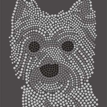 6 pieces/lot West Highland White Terrier custom Korean rhinestone transfer for garment and bag