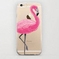 Flamingo iPhone 6 Case Pink and Clear with Graphic Cell Phone Covers Bird Tropical Design Flamingo iPhone 6 Cover Plastic Snap On Hard Shell