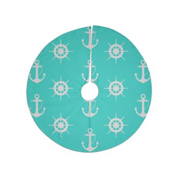 "afe images ""Anchor And Helm Wheel"" Teal White Illustration Christmas Tree Skirt"