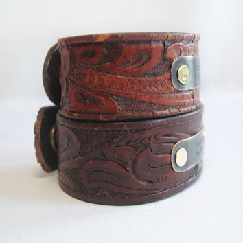 Valentine's Day Couple's Bracelet Cuffs Custom Latitude Longitude Coordinate Cuff From Upcycled Recycled Vintage Leather Belts Rustic