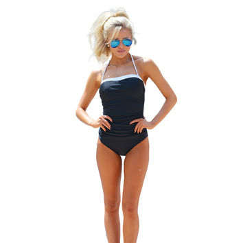 Black Bandeau Swimwear with Contrast Trim