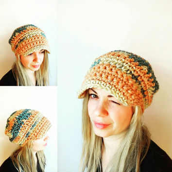 Peach Crochet Hat Visor Grey Womens Hat Crochet Beanie Hat Newsboy Cap Slouchy Visor Hat Chunky Crochet Hat Wool Colorful Hat Winter Hat