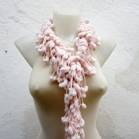 Hand crochet Long Scarf peachy Mulberry Scarf Pompom Fall Autumn Winter Accessories Fall Fashion