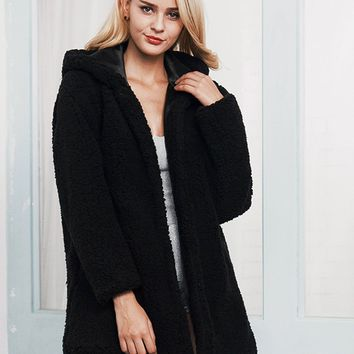 Black Faux Shearling Hooded Coat