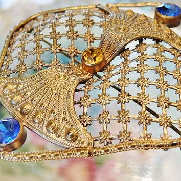 Large Antique Czech Brooch Brass Intricate Filigree Glass Rhinestones 1900s Arts & Crafts Victorian Edwardian Brooch Cobalt Topaz Rhinestone