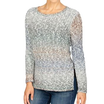 Lucky Brand Ombre Lace Up Pullover Sweater Multi
