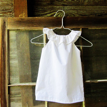 White or Ivory girls ruffle beach Dress size 6 months 12 months 18 months 2t 3t 4t 5t