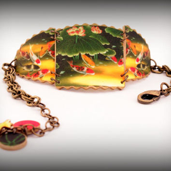 Koi bracelet - Cuff bracelet - Asian Koi - Koi jewelry - Fish bracelet - Japanese Koi - Green - Yellow - Gold - Red - Shrink Plastic Art