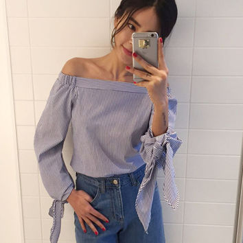 Plus Size Women Sexy Blouses Slash Neck Off Shoulder Bow Long Sleeve Casual Tops Shirts Blue White Striped Party Blusas