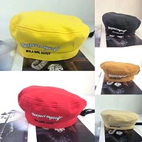 Women All-match Fashion Letter Embroidery Painter Hat Beret Cap