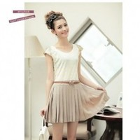 Fake 2pcs Stripe Sequined Belted Pleated Dress Yellow & White (High Quality)