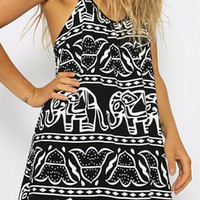 Black Spaghetti Strap Elephant Printed Dress