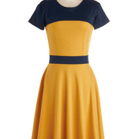 Nothing Like the Wheel Thing Dress in Gold | Mod Retro Vintage Dresses | ModCloth.com