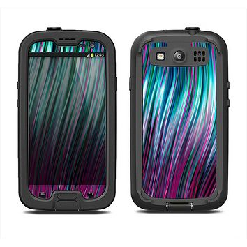 The Pink & Blue Vector Swirly HD Strands Samsung Galaxy S3 LifeProof Fre Case Skin Set