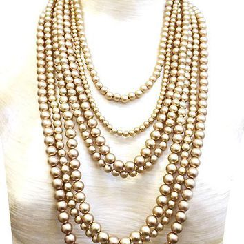 """19"""" gold faux pearl 6 layered multi strand bib necklace 1.50"""" earrings"""