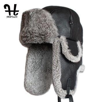 Furtalk Mens Lamb Sheep Leather Rabbit Russian Fur Hat dad hats winter soviet fur Ushanka trapper hat for men