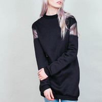 Bared - Minimal black sweatshirt tunic with sheer silver mesh shoulders