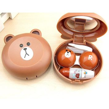Fashion Women Girls Contact Lens Cases With Mirror Travel Lenses Box Cute Panda Cartoon Unisex Container For Contact Lens Case