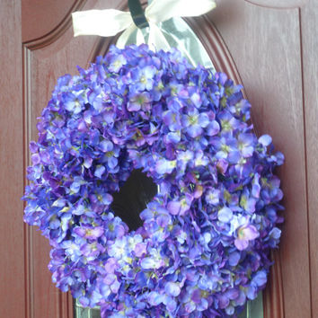 4th of July Sale Hydrangea Wreath - Year Round Wreath - Everyday Wreath - Front Door Wreath - Summer Door Wreath - Purple Hydrangea Wreath -