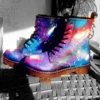 Lace Up Leather Biker Boots in Galaxy Print