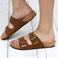 Minnetonka: Gypsy Slide On Leather Sandal {Dusty Brown}