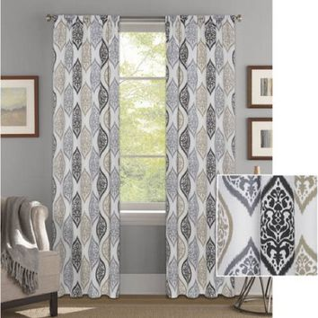 "Better Homes and Gardens Kaleidescope Medallion Curtain Panel,Neutral,52""x95"""