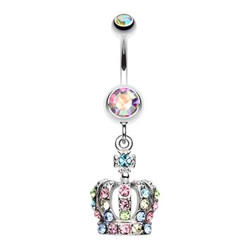 Dazzling Royal Crown Belly Button Ring
