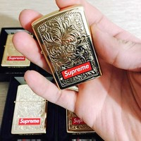Supreme ZIPPO 14FW Engraved Brass box logo Carved lighters Gold lighter