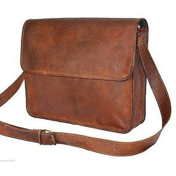 Real genuine leather Brown Vintage Men's Backpack Bag laptop Satchel briefcase