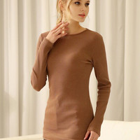 Brown Plain Basic Long Sleeve Knitted T-shirt