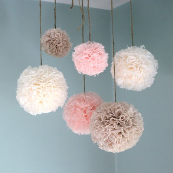 Baby Shower, Blush Lace, Baptism Decorations, Nursery Decor, Baby Girl Nursery, Pom Pom Mobile, Hanging Pom Poms, Lace Pom Poms
