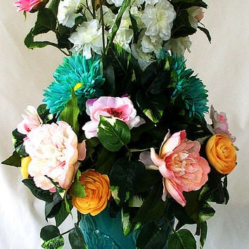 Blue silk flower arrangement arrangements, floral centerpieces silk flowers teal tall vase, orange pink large faux fake floral centerpiece -