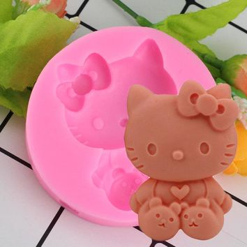 Mujiang 3D Cartoon Hello Kitty Cat Silicone Fondant Soap 3D Cake Mold Cupcake Jelly Candy Chocolate Decoration Baking Tools