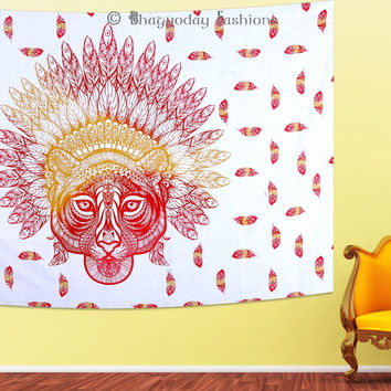 Indian Wall Hanging African Tiger Bedspreads Wall Decor Mandala Tapestry Blanket Decor