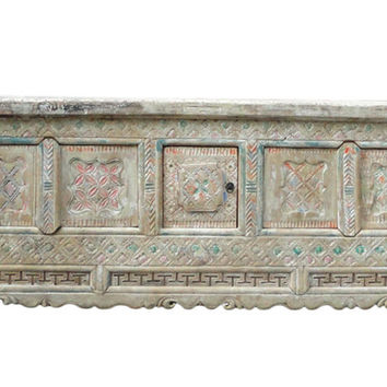 Chinese Vintage Xin Jiang Carving Color Low TV Table Cabinet cs1144S